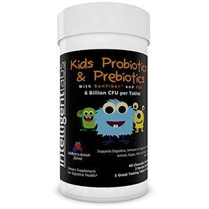 ofertas para -  probiótico para niños con prebióticos 6 mil millones de ufc con prebióticos sunfiber® fos para una eficacia x10 probióticos masticables uno al día con buen sabor 2 meses por bote