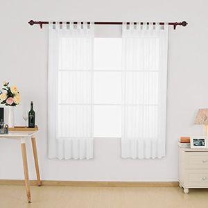 deals for - deconovo vorhang transparent gardinen transparent schlaufenschal transparent 175x140 cm weiß 2er set