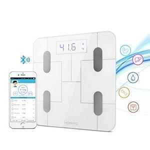 Báscula Baño, HOMPO Báscula de Baño Digital Bluetooth 4.0 con APP Medida de Peso Grasa Masa muscular y Osea Agua ect Pantalla Retroiluminada de Balanza Digital Baño para iOS y Android Guía