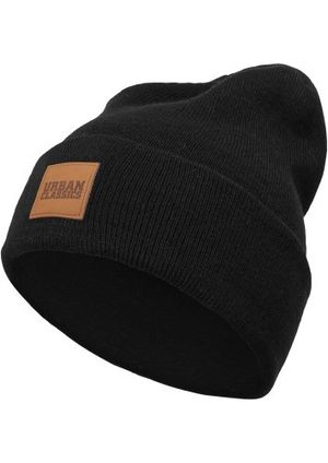 urban classics tb626 unisex strickmütze leatherpatch long beanie black one size herstellergröße one size