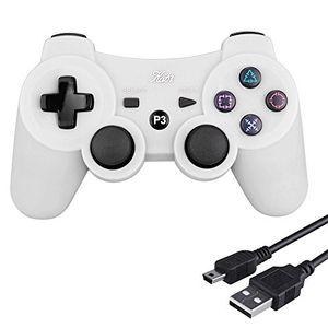 kabi wireless controller double shock gaming controller 6 achsen bluetooth gamepad joystick mit kostenlosem ladekabel für ps3 controller für playstation 3 weiß