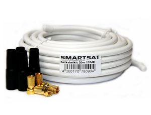 Hot smartsat 20m 135db kupfer koaxial kabel 82mm sat kabel inkl 4 f steckern vergoldet und 4 schutztüllen gratis 20m koaxkabel für digitalfernsehen schirmungsmaß 135db bester empfang für hdtv 3d fullhd ultra hd hd 4k2k uhdtv