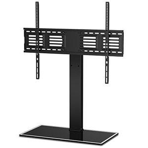 fitueyes universal tv ständer fernsehtisch standfuss glas für 50 bis 80 zoll lcd led höhenverstellbar 50 grad schwenkbar schwarz tt107003gb