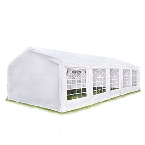 hochwertiges partyzelt 4x10 m pavillon zelt 240gm² pe plane gartenzelt festzelt bierzelt wasserdicht weiß
