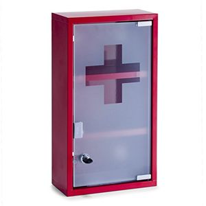 Comprar Zeller 18468 Armario para Medicinas, Metal, Rojo, 25x12x45 cm Mejor compra