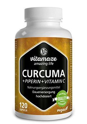 Cápsulas de cúrcuma + curcumina piperina altamente concentrada + vitamina C, 120 cápsulas veganas, producto alemán de calidad, ¡ahora a un precio promocional! Paquete individual (1 x 105,6 g) Hot oferta