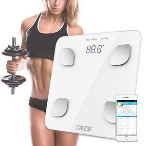 ofertas para - escala de grasa de cuerpo de bluetooththzy escala de baño de peso de cuerpo digital escala de pantalla retroiluminada grande inteligente para peso de cuerpo grasa de cuerpo agua masa muscular imc bmr masa ósea y grasa visceral blanco