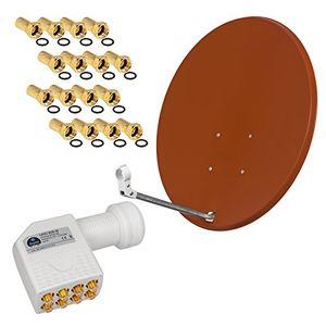 Angebote für -hb digital 8 teilnehmer sat anlage 80cm spiegel schüssel ziegelrot octo lnb zum empfang von dvb ss2 full hd 3d ultra hd uhd signale auf bis zu 8 receiver 16 stecker gratis dazu im set