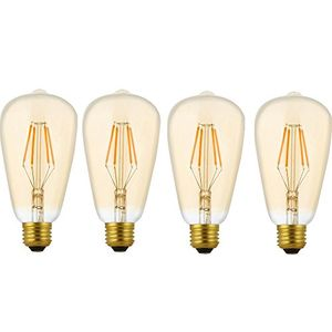 deals for - 4 pack dimmbare led e27 4w st64 filament glühbirne edison vintage glühlampe lampe birne warmes licht 2200kideal für nostalgie und antik beleuchtung