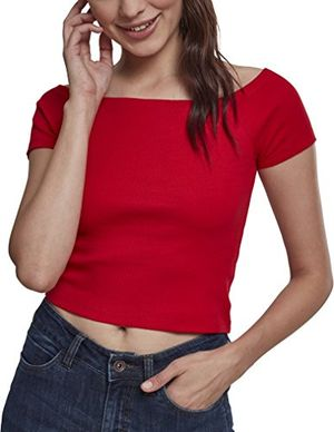 deals for - urban classics damen t shirt ladies off shoulder rib tee rot fire red 00697 medium herstellergröße m