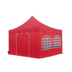 faltzelt professional 4x4 m mit fenstern faltpavillon alu pavillon partyzelt in rot profizelt24