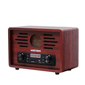 Hot musitrend nostalgie retro radio mp3 player amfm kristallklarer klang und usbsd player im holzgehäuse rotwein