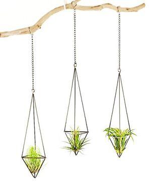 mkouo 3 stück luftpflanzen hängenden metall luft pflanze halter topf container dekoration bronze