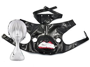 Top COSPLAZA Tokyo Ghoul Kaneki Ken cuero negro máscara de cremallera de Cosplay peluca de color plateado y blanco Mejor oferta