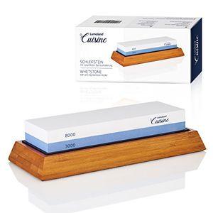 Buy lumaland cuisine korund schleifstein wetzstein nassschleifstein in bambushalterung ca18x6x3 cm 30008000 körnung