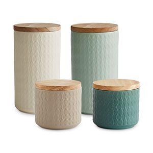 Hot keramik vorratsdosen mit holzdeckel nordic reef von springlane kitchen luftdichter kautschukholz deckel 93 bis 183 cm höhe aufbewahrungsdosen frischhaltedosen