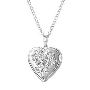 Angebote für -u7 herz medaillon zum öffnen photo bilder amulett platiniert blume herz anhänger halskette herzanhänger geschenk für damen mädchen mutter
