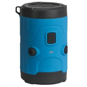 scosche boombottle h2o ipx7 wasserdichter bluetooth lautsprecher 5 watt i ios android i ultra langer akku i outdoor musik lautsprecher i subwoofer i aux i tragbar i inkl karabinerhaken blau
