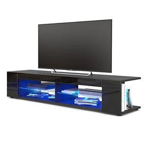 Angebote für -tv board lowboard movie korpus in schwarz matt fronten in schwarz hochglanz inkl led beleuchtung in blau