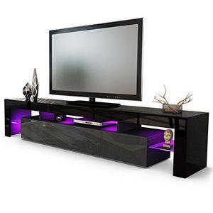 Angebote für -tv board lowboard lima v2 korpus in schwarz front in schwarz metallic hochglanz