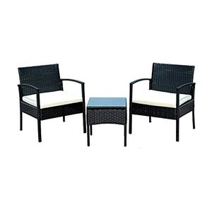 photos of EBS® Polyrattan Gartenmöbel Set Gartengarnitur Sitzgruppe Lounge Garnitur 1 Tisch 2 Stühle Weiß Sitzkissen Vergleich Kaufen   model Lawn & Patio