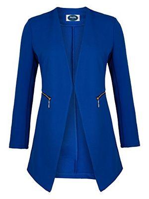 deals for - 4tuality ao long blazer kragenlos mit zipper royalblau gr xxl