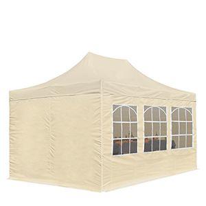 faltpavillon pavillon economy 3 x 45 m mit seitenteilen in creme partyzelt gartenzelt profizelt24 wasserdicht