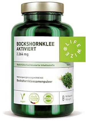 lifewize bockshornklee kapseln aktiviert 2264 mg bockshornkleesamen fenugreek 180 kapseln hochdosiert vegan ohne zusatzstoffe