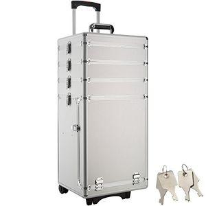 ofertas para - tectake maletín de cosméticos con ruedas belleza maquillaje disponible en diferentes colores plata