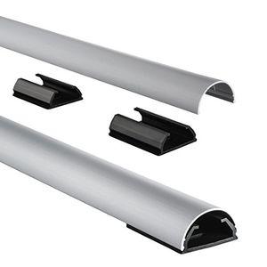 hama kabelkanal alu aluminium halbrund 110 x 33 x 18 cm bis zu 5 kabel 4 halteclips silber