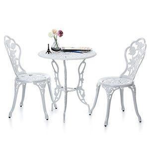 deals for - ikayaa 3tlg balkonmöbel gartenmöbel set mit rose muster 1xtisch 2xstuhl