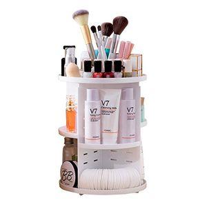 multifunktionaler make up organizer mit 7 verstellbaren ablageflächen 360grad drehbare aufbewahrungsbox von pdr passend für verschiedene arten von kosmetika und zubehör weiß