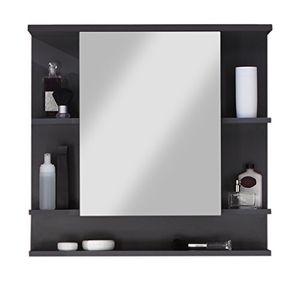 trendteam 1330 403 21 tetis badezimmer spiegelschrank 72 x 76 x 20 cm in graphit mit fünf ablagefächern dunkelgrau front hochglanz weiß