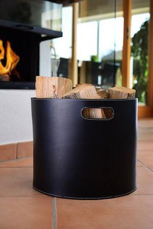Hot holzkorb korb für kaminholz leder schwarz