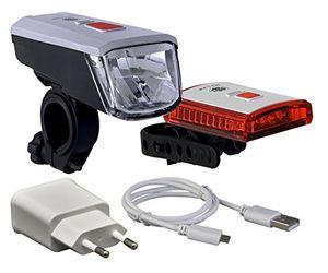 deals for - büchel batterieleuchtenset vancouver mit li ion akku 40 lux usb ladegerät stvzo zugelassen silberschwarz 51225460