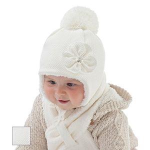 babymütze wintermütze set mit schal für mädchen mit blume gr 46 modell 6597 creme ivory