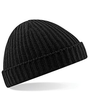 deals for - beechfield unisex baseball cap retro trawler winter beanie hat schwarz black 000 one size