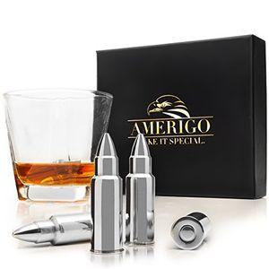 deals for - amerigo premium edelstahl whisky steine geschenkset hohe kühltechnologie wiederverwendbare whiskey eiswürfel 6 whisky kugel whiskey bullet geschenkset whisky patrone edelstahlzange