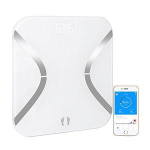 ofertas para - báscula de baño mini báscula de baño con análisis corporal de 12 funciones báscula de baño control por medio de app en español y bluetooth compatible con android e ios cristal blanco