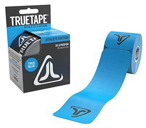 truetape athlete edition vorgeschnittenes kinesiologie tape true blue physiotape kinesiotapes 20 vorgeschnittene streifen ce zertifiziert farbauswahl aufbewahrungsbox 40 anleitungen