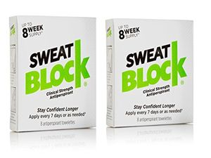 Inicio 2 packs de 8 toallitas antitranspirantes de Sweat Block. Mejor oferta