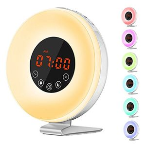 ofertas para - wake up lightjvmac despertador luz led y radio naturales con simulación sunriseluz nocturna de cabecera con radio fm 7 colores led 6 sonidos naturales 10 niveles del brillo control táctil y usb