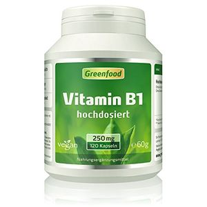 deals for - greenfood vitamin b1 250mg hochdosiert 120 vegi kapseln für gute nerven gedächtnis und konzentration macht gute laune ohne künstliche zusätze ohne gentechnik vegan
