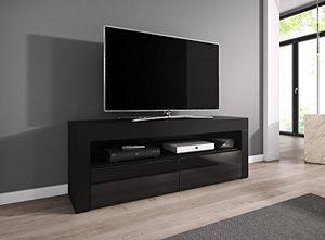 Top tv element tv schrank tv ständer entertainment lowboard luna 140 cm körper schwarz matt fronten schwarz hochglanz