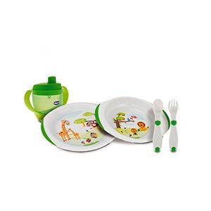 ofertas para - chicco set de vajilla y cubertería infantil platos cubiertos y vaso 12m