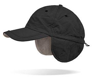wintermütze wintercap verstellbar mit zugband ohrenschutz und fleece innenfutter schwarz onesize