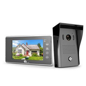 Cheap 1byone video türsprechanlage mit 2 draht videogegensprechanlage 7 zoll farb monitor und hd kamera video türklingel 15m kabel leicht an jeder oberfläche zu befestigen