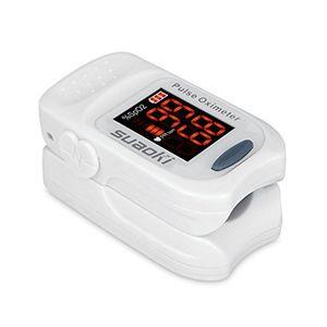 Suaoki - Pulsioxímetro de Dedo Oxímetro Pulsómetro Digital (Pantalla LED, Medidor de Sangre Oxígeno, Frecuencia Cardíaca, Para Adultos y Niños, con Caso Protector) Blanco ofertas especiales