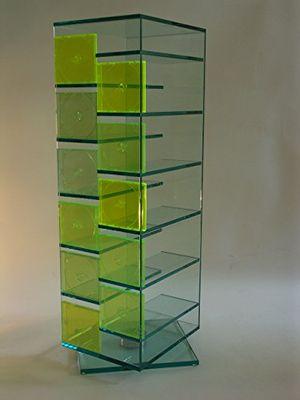 Buy glas cd dvd regal janus 125 cm drehbar klarglas archivierung ständer