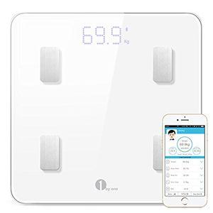 ofertas para - 1byone báscula corporal digital inalámbrica con app para android e ios para administrar el peso corporal grasa corporal agua músculos imc bmr masa ósea y grasa visceral blanca
